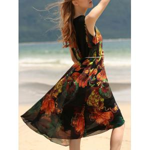 Vintage Style U Neck Sleeveless Printed Chiffon Self Tie Belt Dress For Women