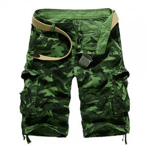 Loose Fit Straight Leg Multi-Pocket Camo Print Zipper Fly Cargo Shorts For Men