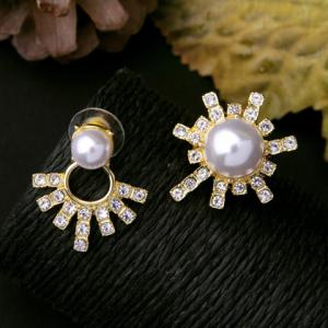 Pair of Rhinestone Faux Pearl Alloy Earrings -