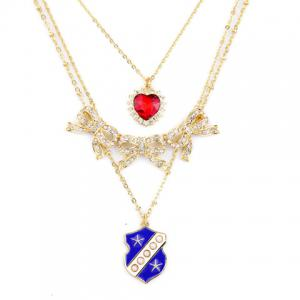 Multilayered Rhinestone Heart Bowknot Necklace -