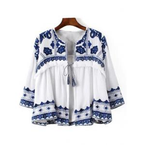 Casual Lace-Up Blue and White Porcelain Pattern Women's Blouse - Blue And White - S