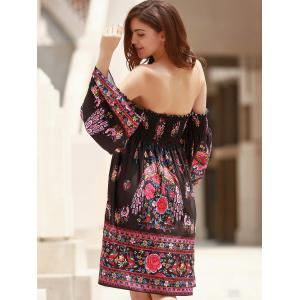 Off The Shoulder Long Sleeve Floral Dress - BLACK ONE SIZE(FIT SIZE XS TO M)