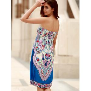 Bohemian Strapless Sleeveless Floral Print Women's Dress -