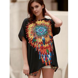 Ethnic Style Round Neck Short Sleeve Feather Print Women's T-Shirt -