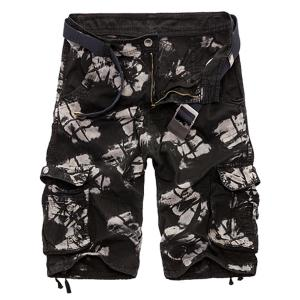 Military Style Zipper Fly Multi-Pocket Loose Fit Straight Leg Camo Shorts For Men - Black - 38