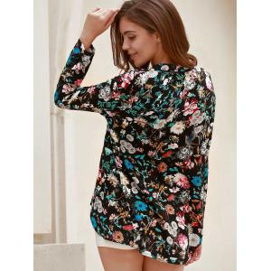 Vintage V-Neck Long Sleeve Floral Printed Blouse For Women -