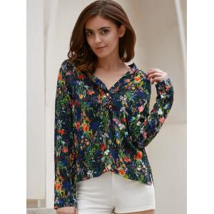 Chic V-Neck Floral Printed Thin Blouse For Women -