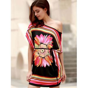 Mini One Shoulder Flower Print Casual Dress - BLACK ONE SIZE(FIT SIZE XS TO M)