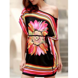 Mini One Shoulder Flower Print Casual Dress - Black - One Size(fit Size Xs To M)