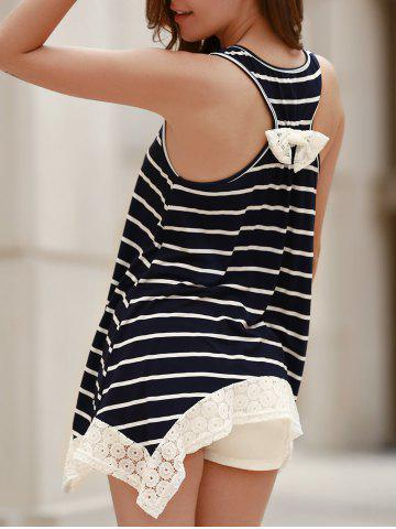 Shop Chic Scoop Neck Sleeveless Striped Bowknot Design Women's Tank Top