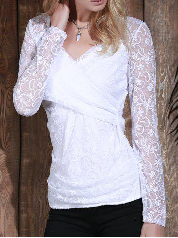 Sale Plunging Neck Long Sleeve See-Through Lace Women's T-Shirt - M WHITE Mobile