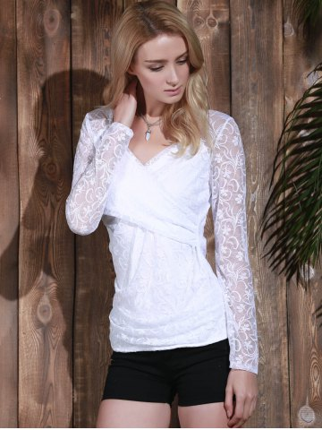 Buy Plunging Neck Long Sleeve See-Through Lace Women's T-Shirt - L WHITE Mobile