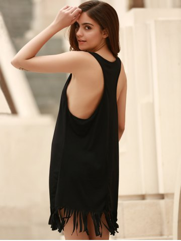 Outfit U-Neck Sleeveless Fringed Cover-Up - L BLACK Mobile
