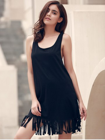 Shop U-Neck Sleeveless Fringed Cover-Up - 2XL BLACK Mobile