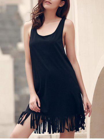 Outfit U-Neck Sleeveless Fringed Cover-Up - 2XL BLACK Mobile
