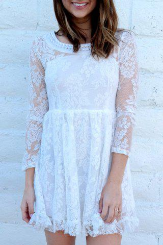 Trendy Beaded High Waist Ruffled White Lace Skater Dress with Sleeves WHITE S