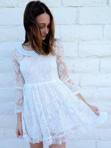 Online Beaded High Waist Ruffled White Lace Skater Dress with Sleeves - M WHITE Mobile