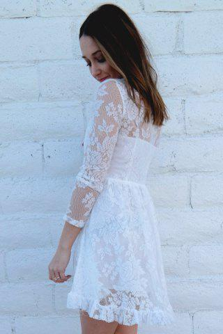Latest Beaded High Waist Ruffled White Lace Skater Dress with Sleeves - M WHITE Mobile