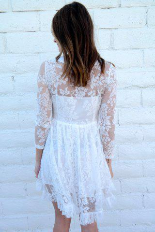 Affordable Beaded High Waist Ruffled White Lace Skater Dress with Sleeves - M WHITE Mobile