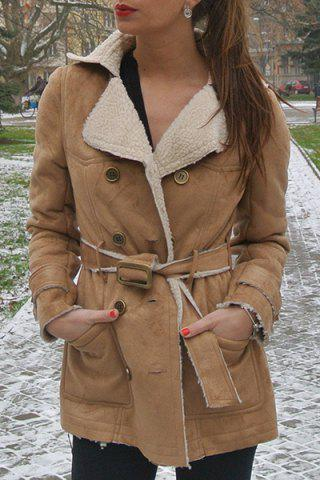 Outfits Stylish Turn-Down Collar Long Sleeve Belted Double-Breasted Women's Coat CAMEL S