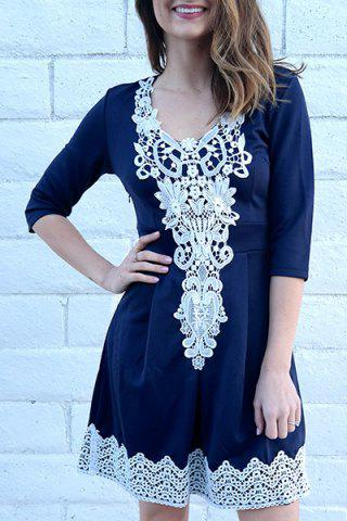 Latest Women's Stylish 1/2 Sleeve Lace Splicing Round Neck A-Line Dress PURPLISH BLUE M