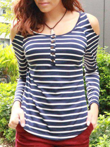 Chic Trendy Scoop Neck Long Sleeve Hollow Out Striped T-Shirt For Women BLUE GRAY ONE SIZE(FIT SIZE XS TO M)