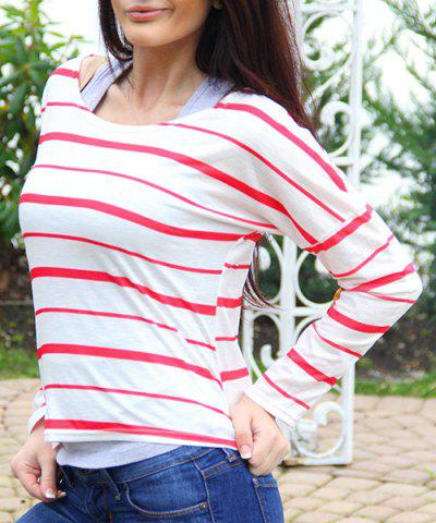 Chic Chic Scoop Neck Striped Elbow Spliced Long Sleeve T-Shirt For Women RED S
