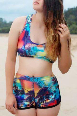 Online Sexy Scoop Neck Print Two-Piece Tropical Bathing Suit For Women COLORMIX M
