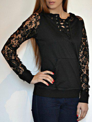 Stylish Lace Splicing Lace-Up Long Sleeve Hoodie For Women - BLACK S