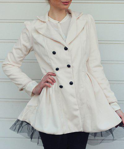 Long Sleeves Lapel Double-breasted Beam Waist Voile Stitching Plicated Ruffles Long Edition Ladylike Women's Coat - White - L