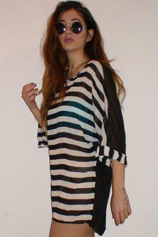 Best Striped Tunic Beach Cover Up Dress - ONE SIZE STRIPE Mobile