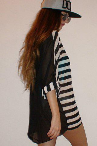 Chic Striped Tunic Beach Cover Up Dress - ONE SIZE STRIPE Mobile