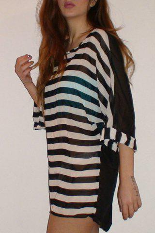 Striped Tunic Beach Cover Up Dress - Stripe - One Size