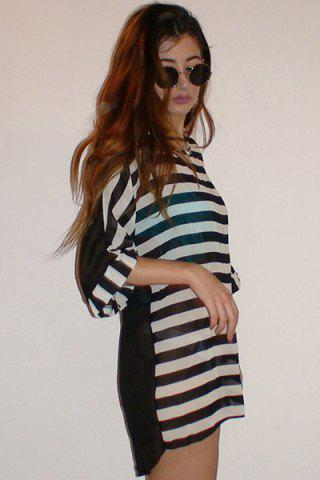 Shops Striped Tunic Beach Cover Up Dress - ONE SIZE STRIPE Mobile