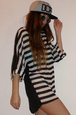 Outfit Striped Tunic Beach Cover Up Dress - ONE SIZE STRIPE Mobile