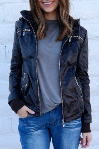 Best Chic Hooded Solid Color Detachable Sleeve Faux Leather Jacket For Women COFFEE M
