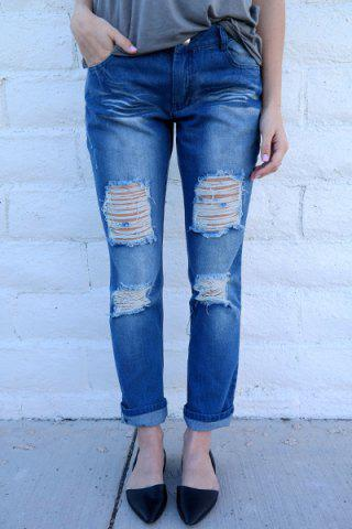 Affordable Distressed Tapered Boyfriend Jeans BLUE M