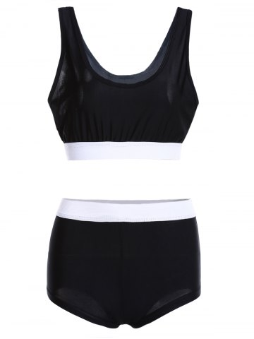 Chic Color Block Sports High Waisted Tankini BLACK XL
