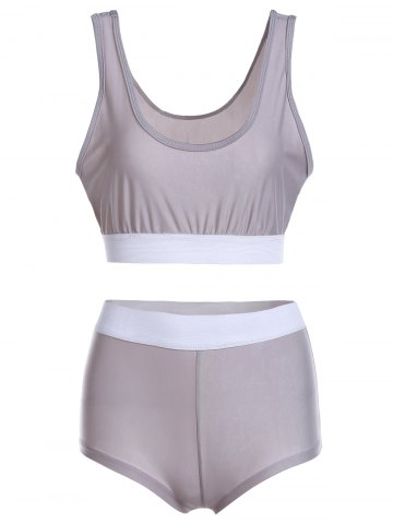 Best Color Block Sports High Waisted Tankini