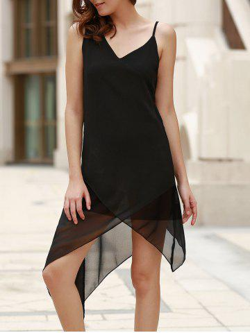 Discount Casual V-Neck Sleeveless Black Handkerchief Dress For Women