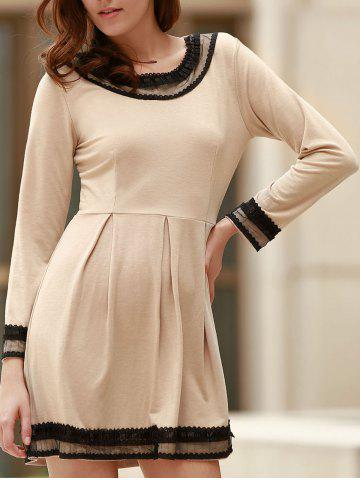 Outfit Sweet Round Collar Lacing Long Sleeve Dress For Women
