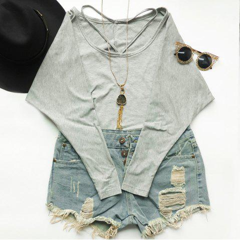 Stylish V-Neck Long Sleeve Solid Color Loose T-Shirt For Women