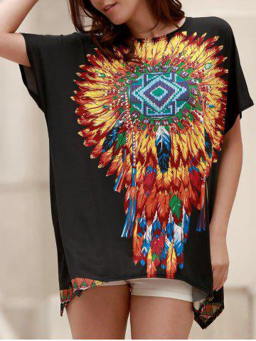 Unique Ethnic Style Round Neck Short Sleeve Feather Print Women's T-Shirt
