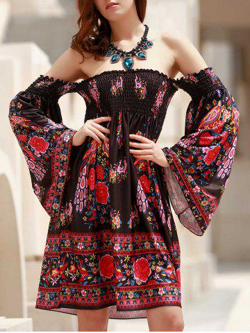 Online Off The Shoulder Long Sleeve Floral Dress BLACK ONE SIZE(FIT SIZE XS TO M)