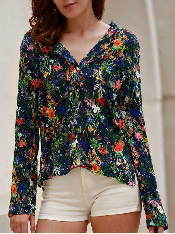 Sale Chic V-Neck Floral Printed Thin Blouse For Women