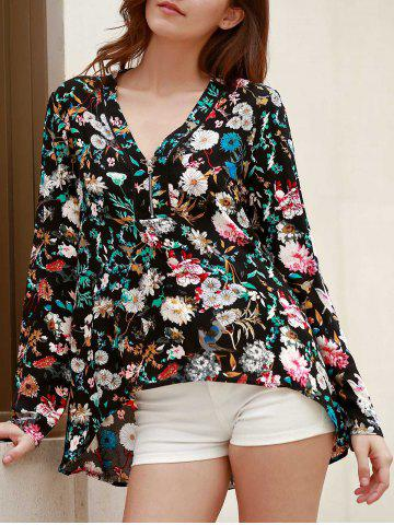 Store Vintage V-Neck Long Sleeve Floral Printed Blouse For Women