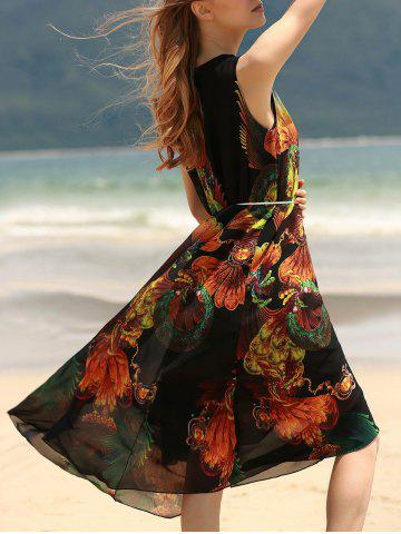 Outfit Vintage Style U Neck Sleeveless Printed Chiffon Self Tie Belt Dress For Women BLACK ONE SIZE(FIT SIZE XS TO M)