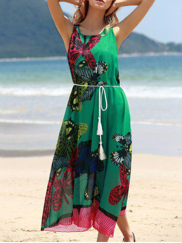 Affordable Graceful Round Collar Sleeveless Butterflies Print Tea Length Chiffon Dress For Women GREEN ONE SIZE(FIT SIZE XS TO M)