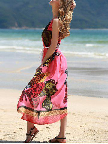 Best Graceful Round Collar Sleeveless Butterflies Print Tea Length Dress For Women