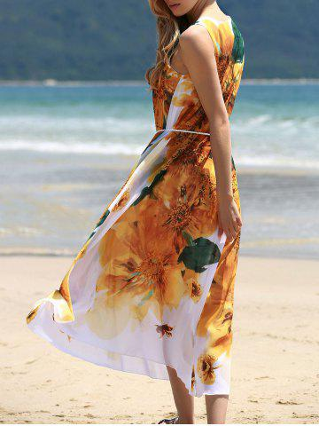 Chic Graceful Round Collar Sleeveless Yellow Floral Print Chiffon Dress For Women